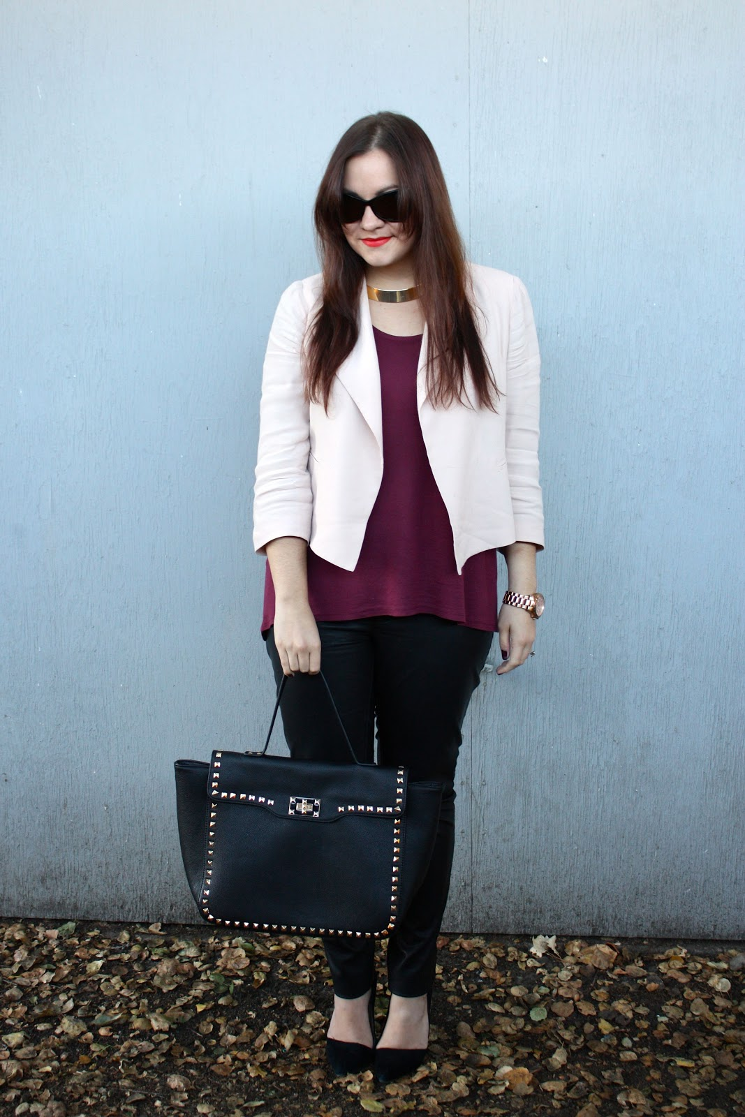 9b3a5f502f2cc One of my favorite outfit strategies is definitely mixing feminine and edgy  pieces. When I got these Blank Denim skinny leather pants from Shopbop