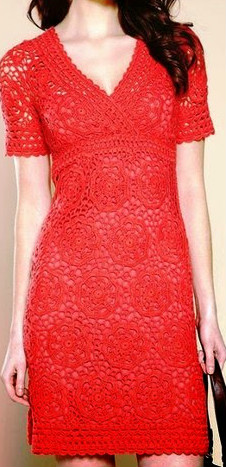 Red dress graphic crochet beautiful elegant