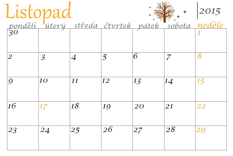 kalendar listopad Šití je posedlost: Kalendář: Listopad 2015 kalendar listopad