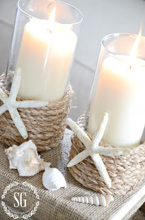 bicchieri porta candele con stelle marine