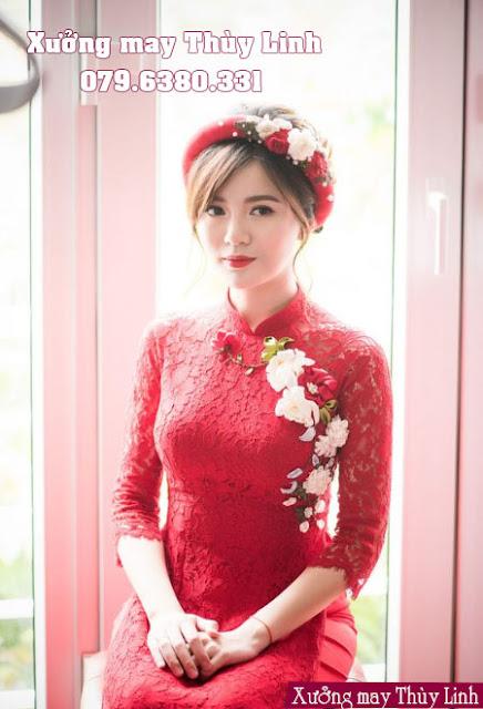 áo dài cưới ren