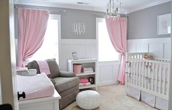 chambre bébé fille rose et gris modern