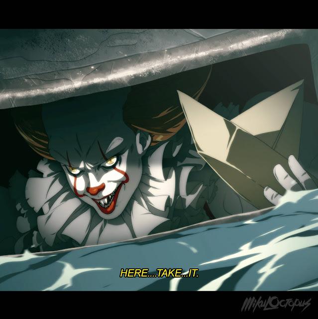 Pennywise jako postać z anime narysowana przez Mikea Andersona