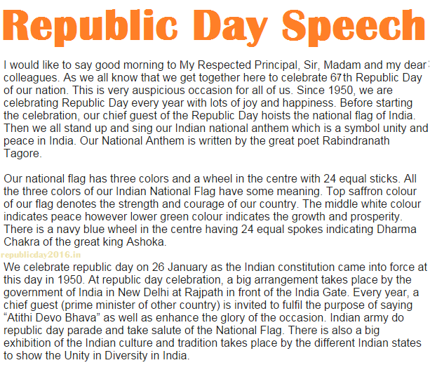 Republic Day Speech for Teachers in English