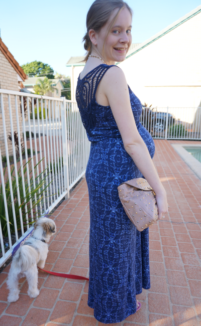 third trimester pregnancy easter sunday church outfit blue crochet lace detail maxi dress