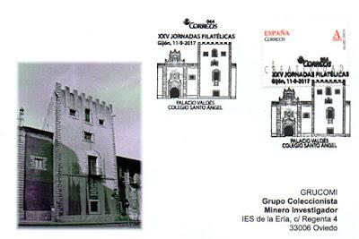 Tarjeta con el matasellos de las XXV Jornadas Filatélicas del Grupo Filatélico y Numismático de Gijón