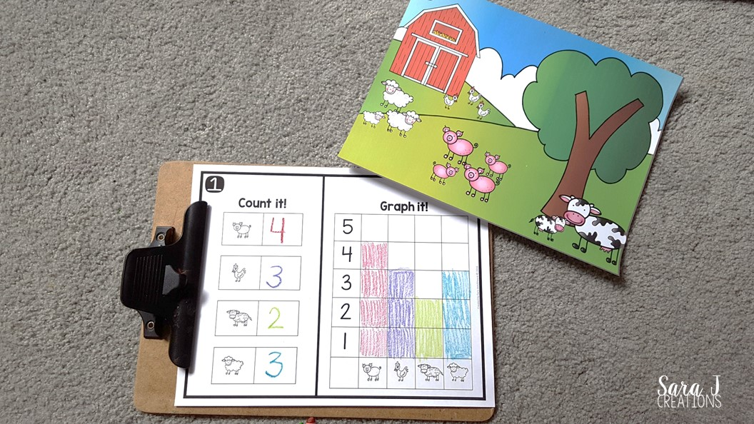 Farm counting and graphing is a fun introduction to graphing for preschoolers.  Grab your freebie now!