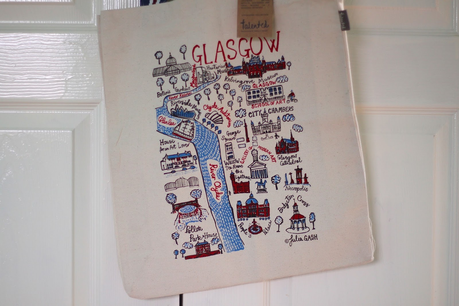 Talented Cityscape Canvas tote Bag designed by Julia Gash