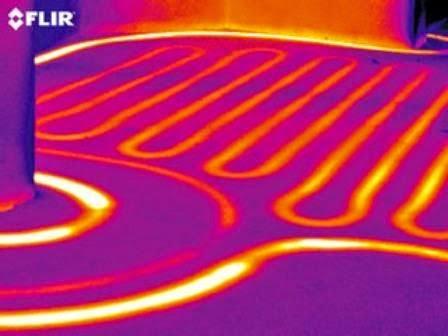 vue infrarouge d'un plancher chauffant basse température