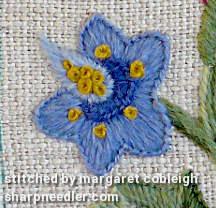 Crewel Sampler (by Elsa Williams): Detail from central motif