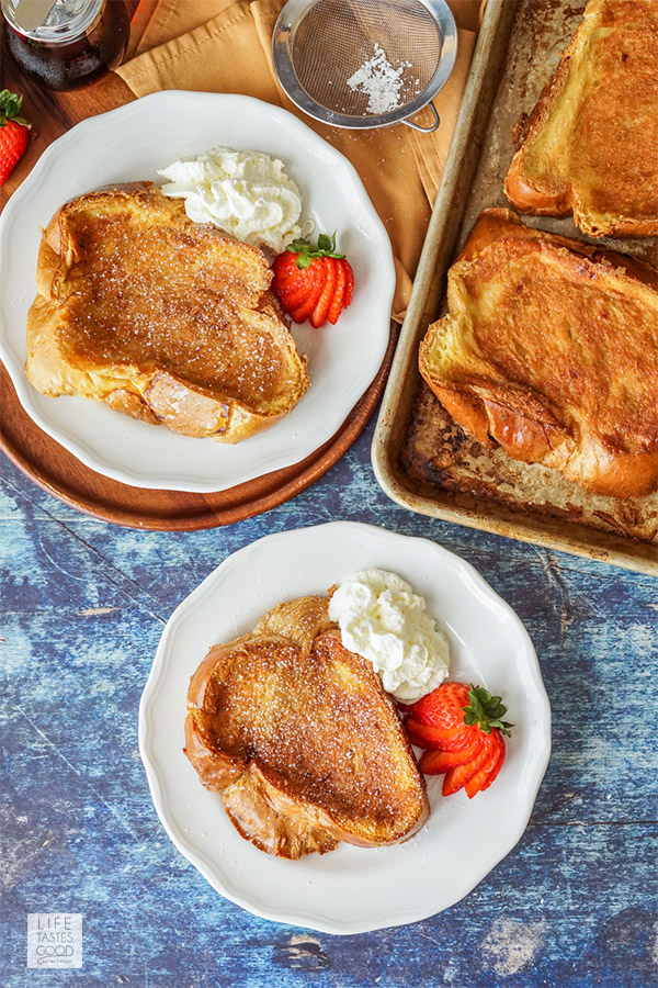 Breakfast table settings serving up creme brulee french toast