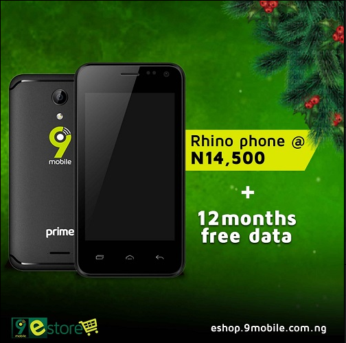 9Mobile Rhino 2 ₦14,000 Android Phone Comes With 12months Free Data