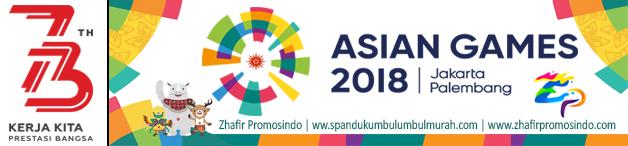 spanduk umbul umbul logo 73 hut ri asian games 2018