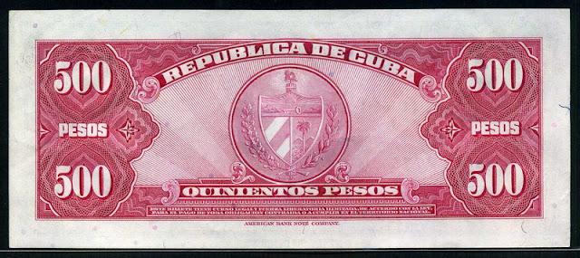 Cuba paper money 500 Pesos note