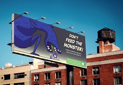 Cartoon style illustration of a monster for a billboard advertising campaign