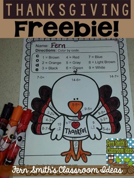 Your students will adore these Thanksgiving Color Your Answer worksheets while learning and reviewing important skills at the same time! You will love the no prep, print and go ease of these printables. As always, answer keys are included. FREE Thanksgiving Fun! Color By Number Basic Subtraction Facts - Color Your Answers Printable to Color By Code.