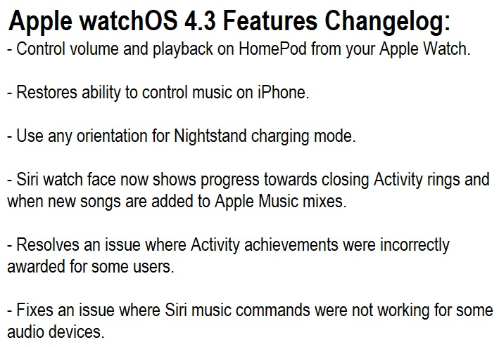 Apple watchOS 4.3 Features Changelog