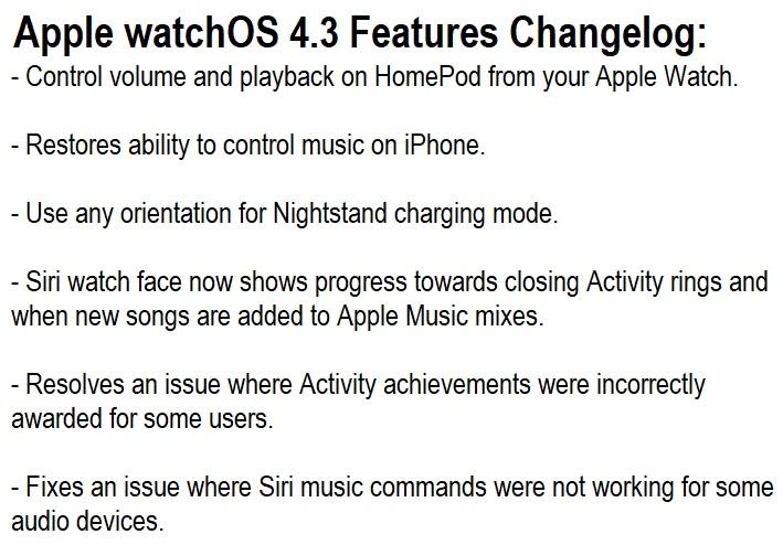 Apple watchOS 4.3 Features Changelog