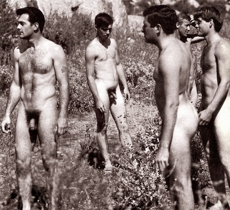 Male nude photography group of naked soldiers vintage photo