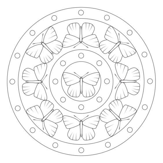 Tranh tô màu hình tròn trang trí họa tiết con bướm