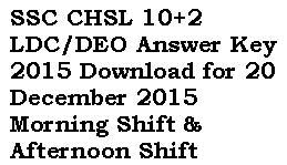 SSC CHSL Answer Key 2015 20 Dec Morning & Evening Shift