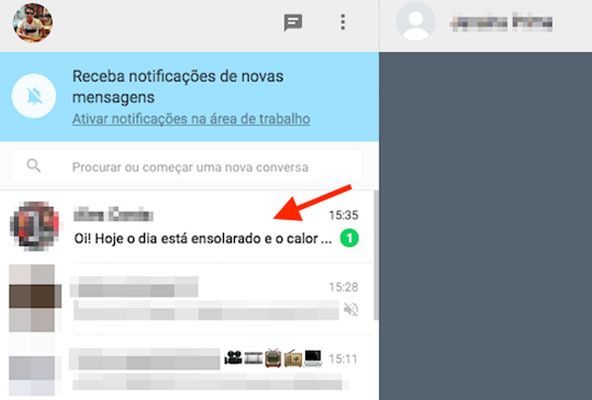 Mensagem não lida em um chat do WhatsApp Web
