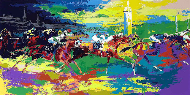 a Leroy Neiman painting of a horse race