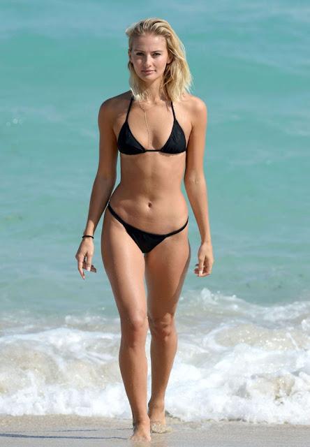 Selena Weber in Black Bikini on the beach in Miami