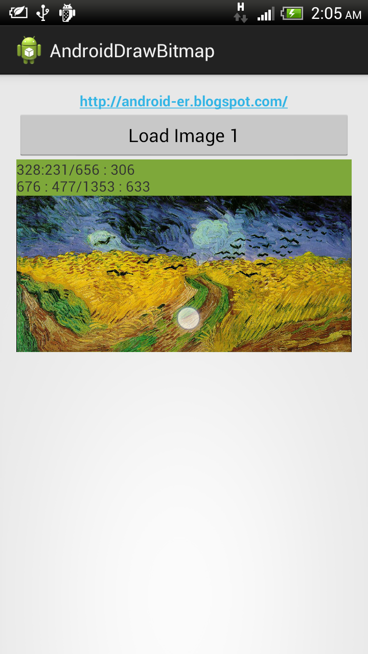 Android-er: Get bitmap color on touched position in ImageView