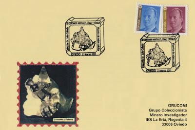 Tarjeta del matasellos de GRUCOMI en el XII Certamen de Minerales de la Escuela de Minas de Oviedo
