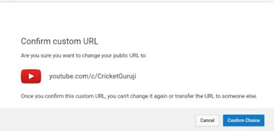 YouTube Get Confirm custom URL Channel