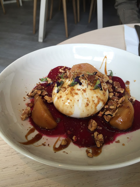 luxe sydney review Burrata with pears, walnuts and beetroot
