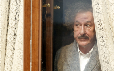 "Geoffrey Rush as Albert Einstein in ""Genius."""
