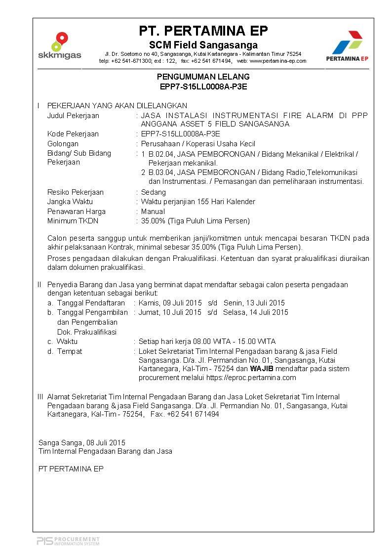 W-PROCUREMENT: Jasa Instalasi Instrumentasi Fire Alarm Di PPP