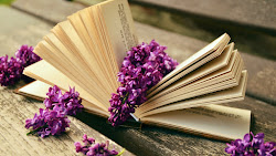 Lilac Flowers and a Good Book Public Domain
