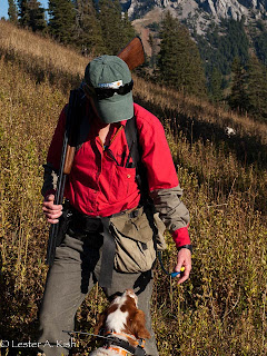 Watering a dog on a high country hunt