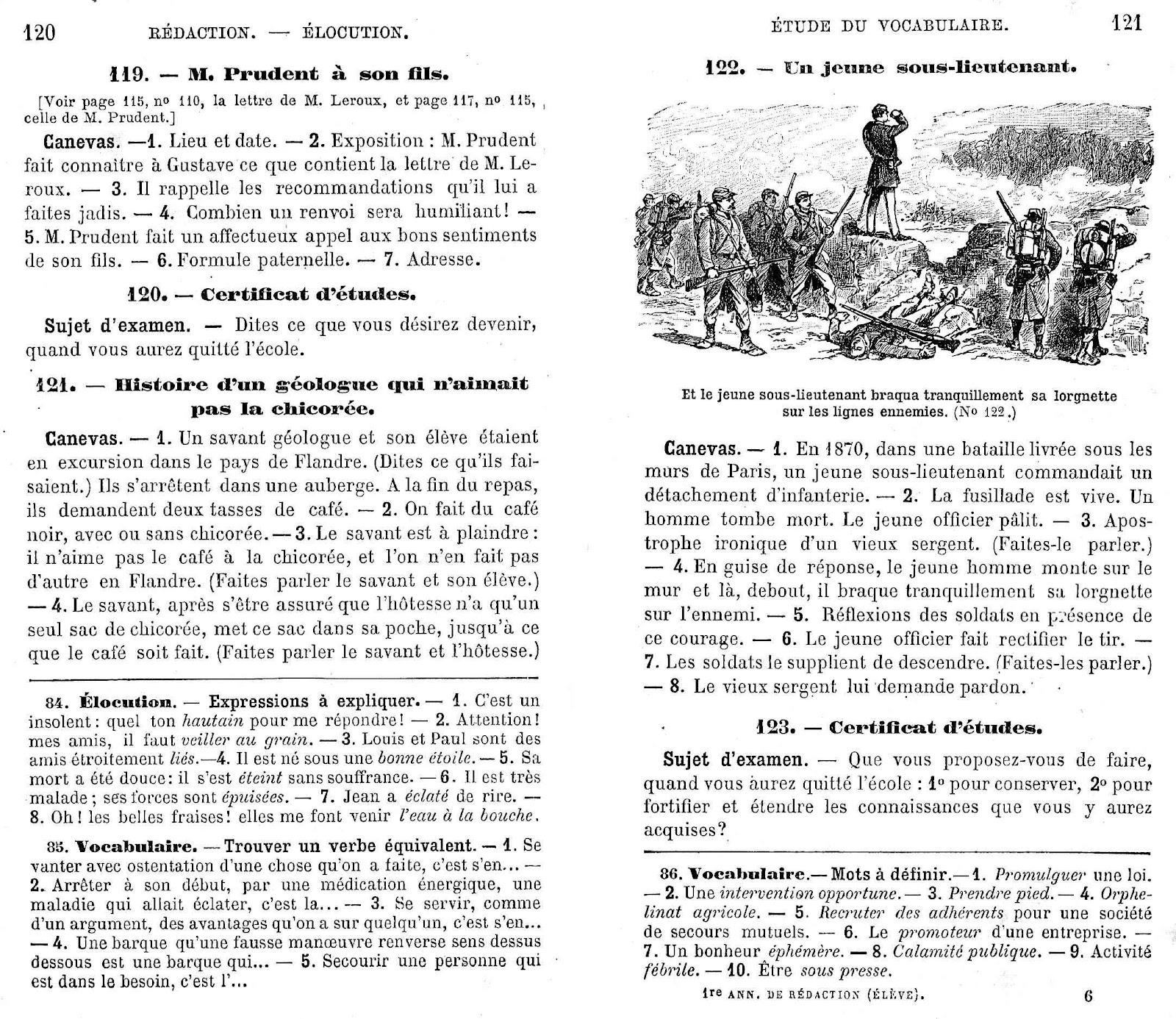 Manuels Anciens Sujets De Redaction Pages 116 129 Manuel
