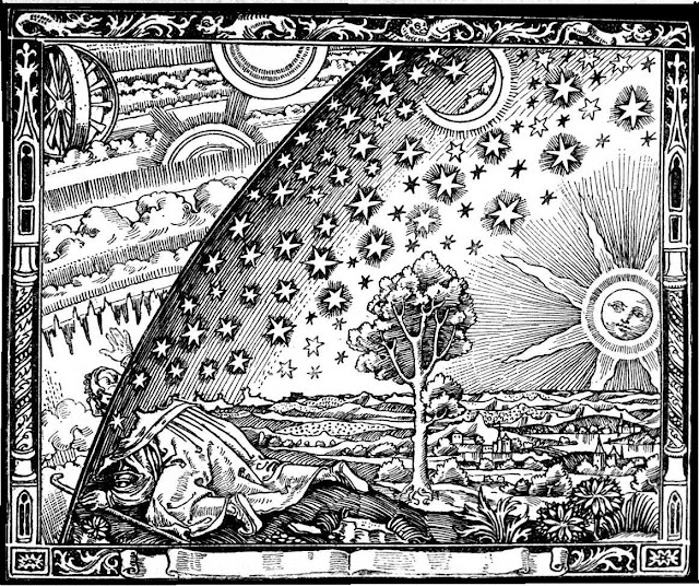 Engraving by an unknown artist first appearing in Camille Flammarion's L'atmosphère: météorologie populaire (1888). The image depicts a man crawling under the edge of the sky, as if it were a solid hemisphere, to look at the mysterious Empyrean beyond. The caption (not shown here) translates to