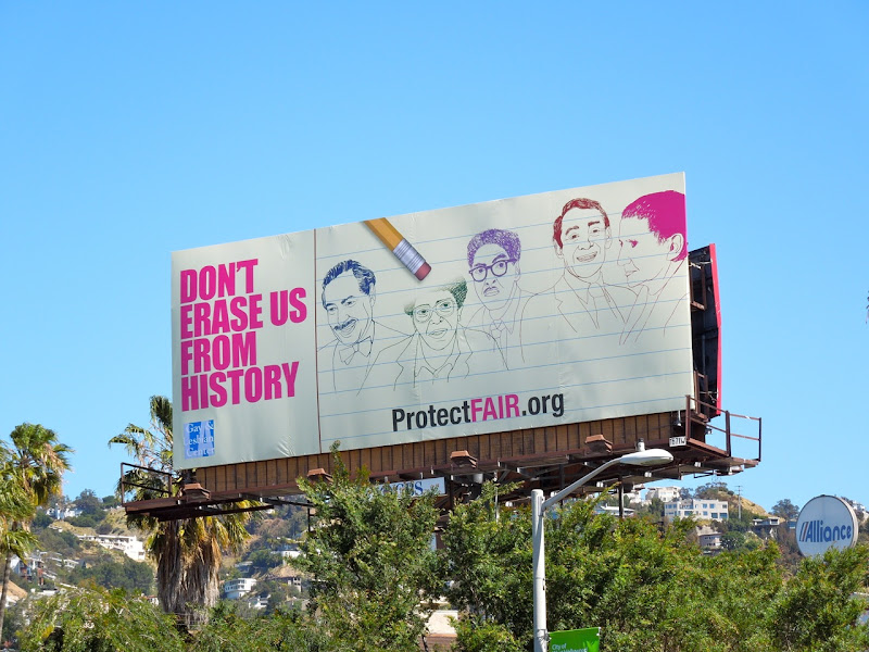 Don't erase us from history billboard