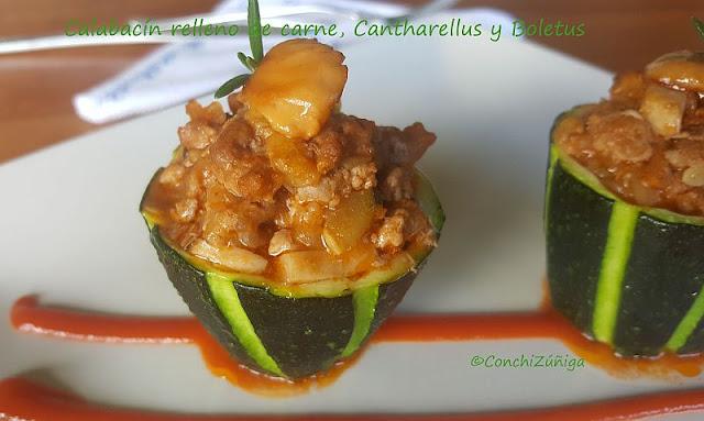 Calabacín Relleno De Carne Y Cantharellus
