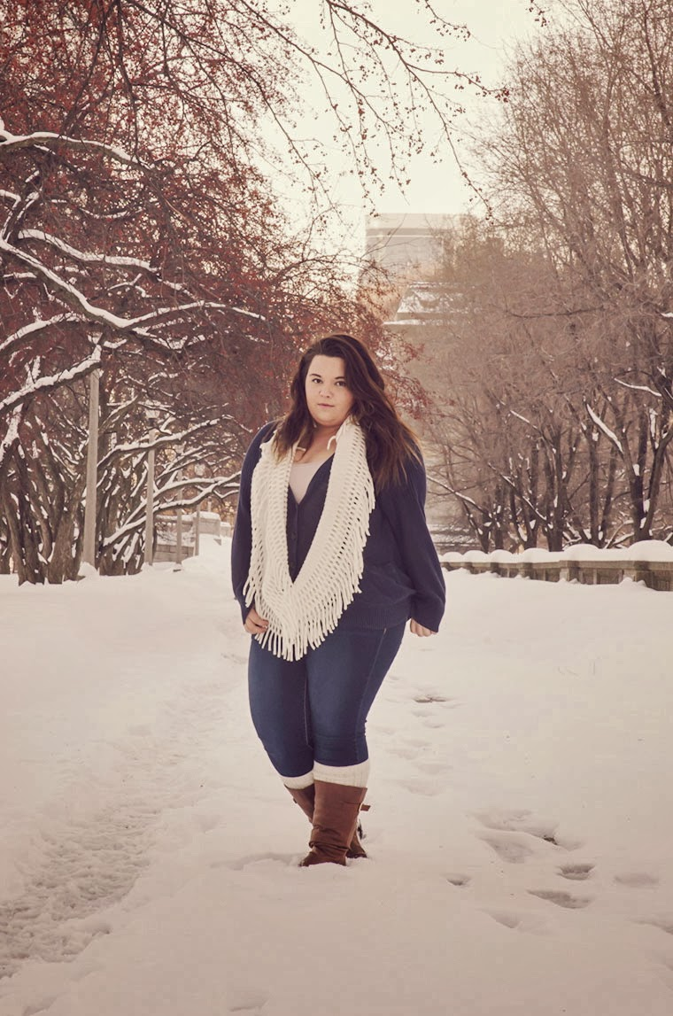ootd, outfit of the day, selfie, wavy, ombre,chicago winter, polar vortex, natalie craig, plus size fashion, plus size fashion blogger, natalie in the city, winter wonderland, winter fashion, leg warmers, boots, oversized cardigan, justin bieber, selena gomez, beyonce, north west, scarf, akira, american eagle, plus size fashion, winter, snow trees, photography, camila, wishxbone, chicago, chi town, scarf