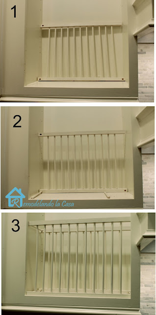 Mark the locations where you want to screw the rack to the lower part of your cabinet. Do a pre-drill for the screw. Bring the structure back in and screw ... & DIY - Inside Cabinet Plate Rack - Remodelando la Casa