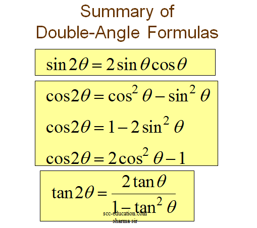 DOUBLE-ANGLE AND HALF-ANGLE FORMULAS,formula sheet for trigonometry ,