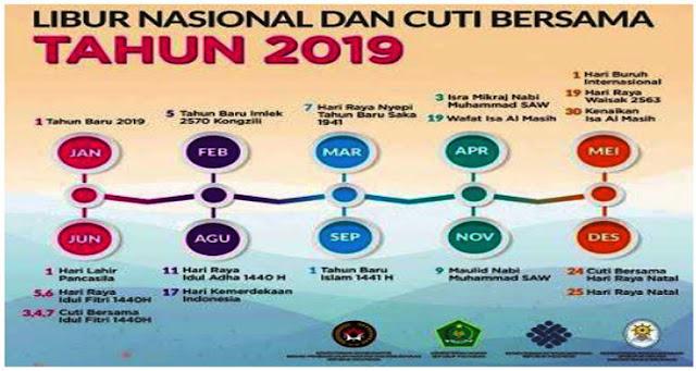 JADWAL LENGKAP HARI LIBUR DAN CUTI BERSAMA TAHUN 2019