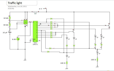 two way 555 traffic light circuit