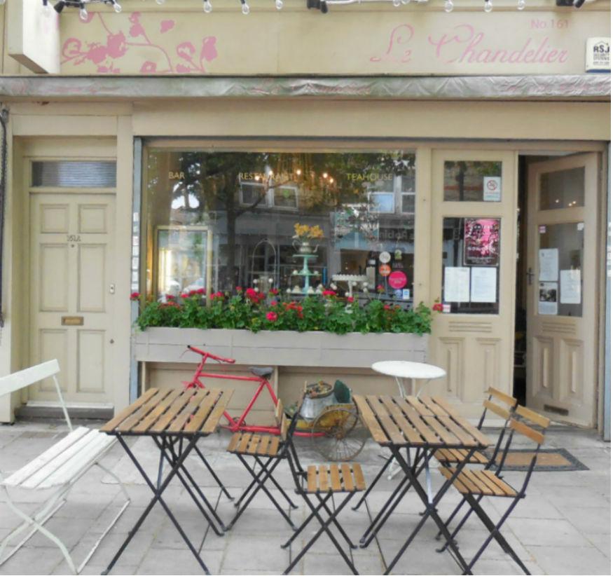 Shopfront outside Le Chandelier Cafe