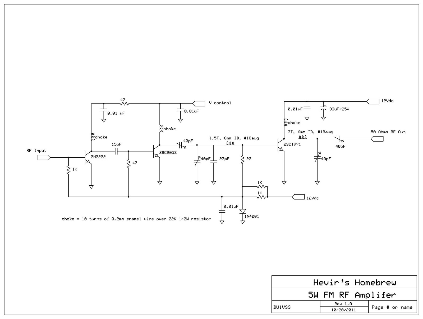 Rf Amplifier Circuit 2n2222 Application Wiring Diagram Simple Transistor As An Du1vss Home Brews 5watts For Fm Broadcast Rh Hevirred Blogspot Com Op Amp