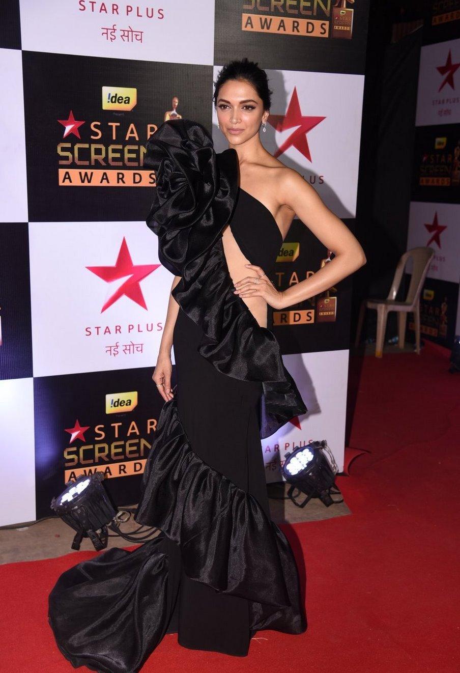 Actress Deepika Padukone at Star Screen Awards In Black Dress