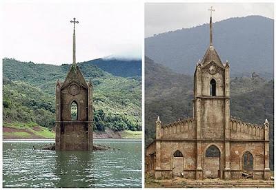 Iglesias católica sumergida en un lago