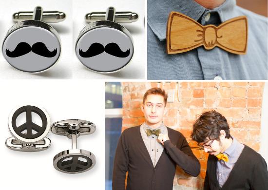 Hipster groom, bow tie, cufflinks